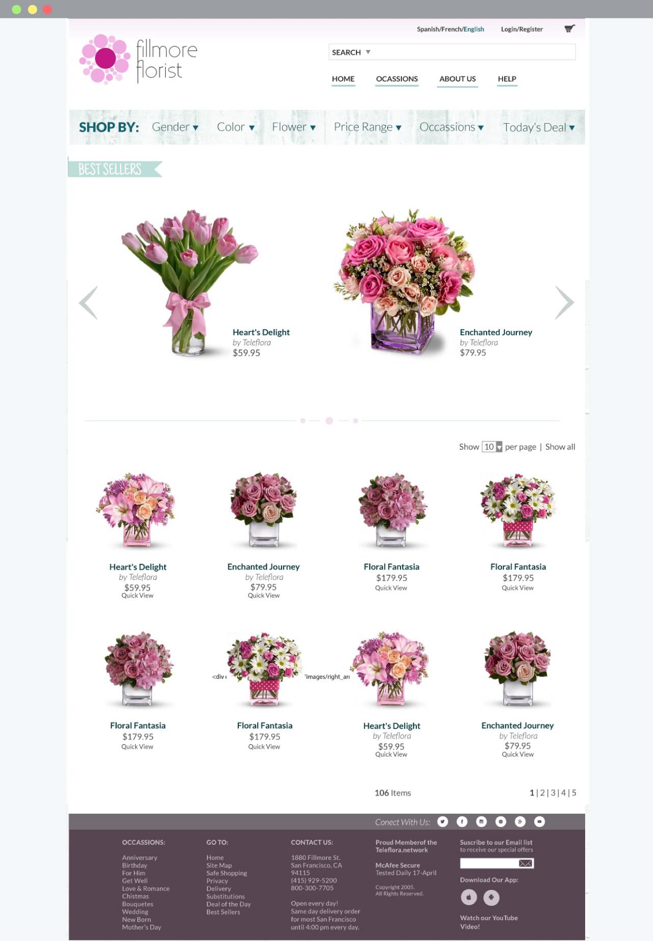 Fillmore Florist catalog page