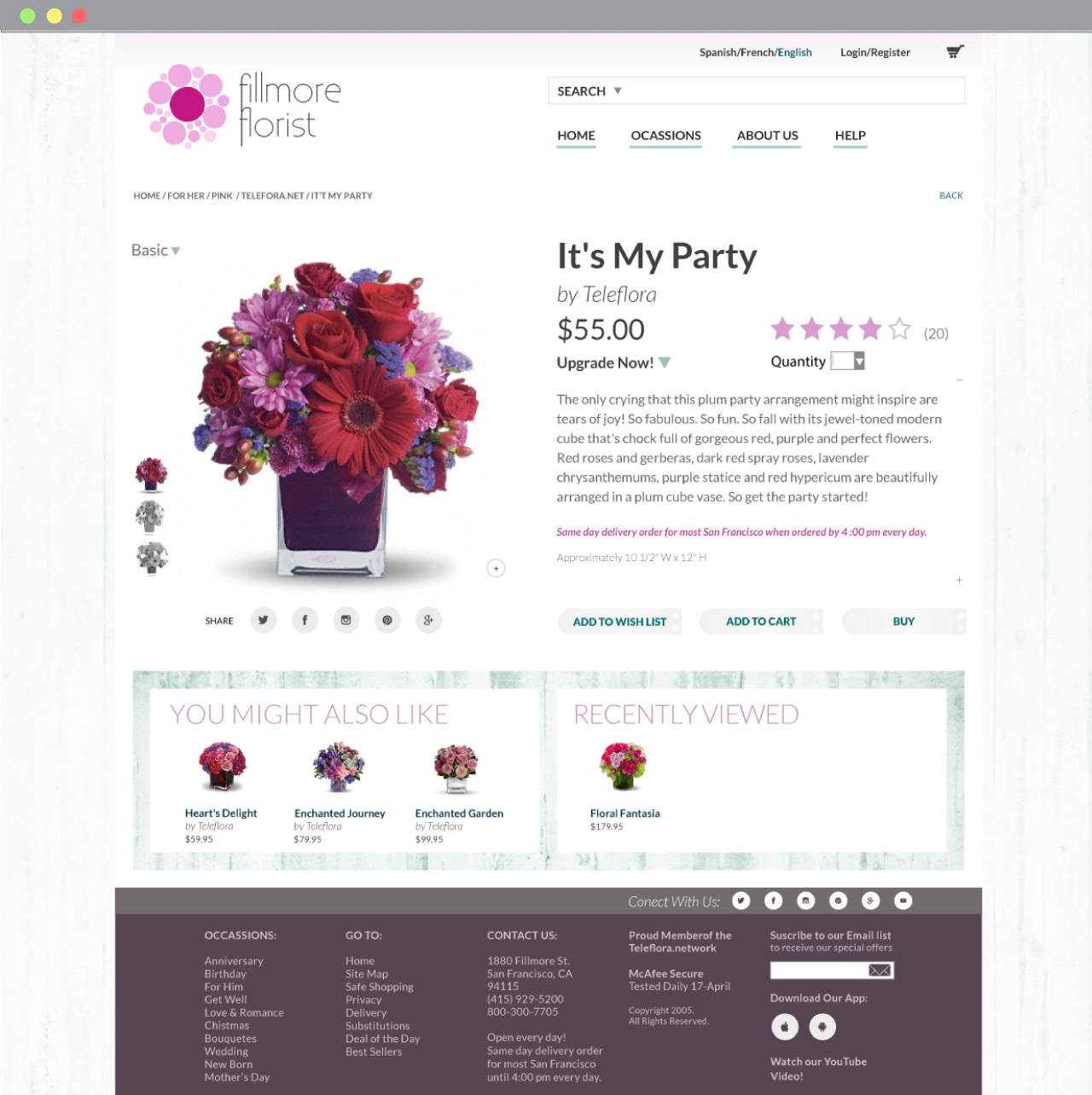 Fillmore Florist Product page