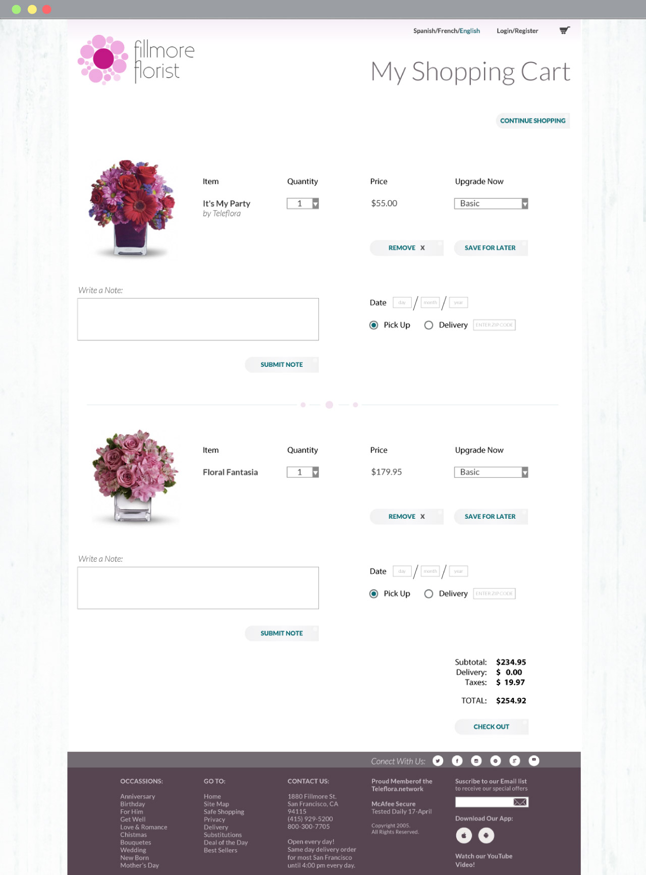 Fillmore Florist checkout page